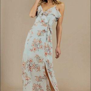 J.O.A Mint Floral Print Maxi Dress